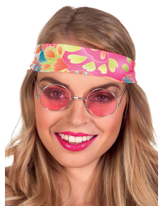 Lunettes hippie roses adulte